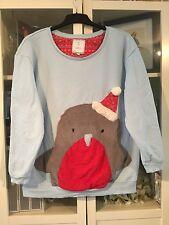 A28 Next Plus Sz L 18/20 Blue Xmas Robin Soft Xmas Sweater Jumper 3D