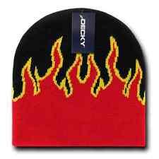 Decky Fire Flames Tribal Beanies Hats Caps Ski Skull Short Uncuffed Winter