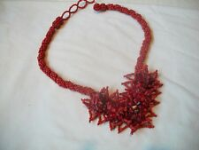 Necklace RED CORAL Chips & Beeds  Beaded NIB Great Gift Free Ship