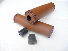 RETRO CYCLE BIKE ARTIFICIAL LEATHER HANDLEBAR GRIPS COLOUR BROWN NEW