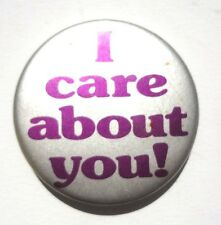 Vintage Silver / Purple I CARE ABOUT YOU BUTTON PIN Badge PINBACK