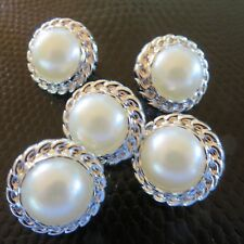 5  Ivory Pearl look  Buttons  with silver chain look edge, shank 22 mm,