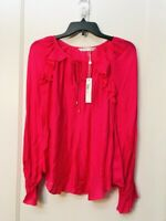 TRINA TURK SILK BLEND LONG SLEEVE TIE NECK PINK BLOUSE NWT SIZE S $238.00