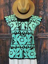 Hand Embroidered Aqua Blue Huipil Jalapa Oaxaca Mexico Hippie Cowgirl Santa Fe