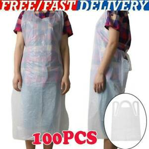 Pack of 100 DISPOSABLE PLAIN WHITE POLYTHENE STRONG  PLASTIC APRONS