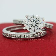 Real Solid 9K White Gold Engagement Wedding Eternity Rings Set Simulated Diamond