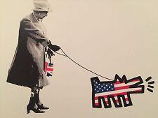 Queen Walking Dog print by DEATH NYC Ltd Ed Pop Art like Haring Obey Brainwash