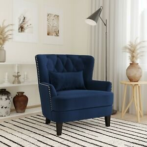 Lifestyle Solutions Lille Tufted Accent Club Chair with Nail Head Trim Navy Blue