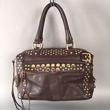 Rebecca Minkoff $695 Brown Leather Gold Studs Jumbo Tote Satchel Bag Studded MAB