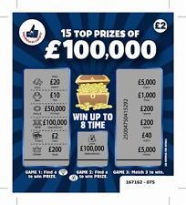 FAKE JOKE LOTTERY SCRATCH CARDS TICKETS £100,000 + £250,000 BEST ON EBAY!!!