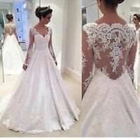 V-Neck Wedding Dresses Long Bridal Gowns Lace Appliques White Ivory Custom Made