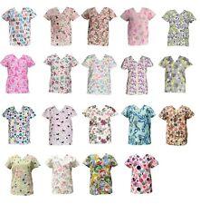 Zikit Women's Fashion Medical Nursing Scrub Printed Tops Xs-3Xl