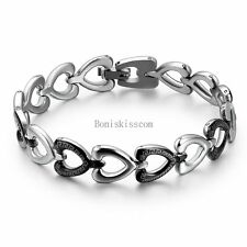 Stainless Steel Men Ladies Open Heart Link Bracelet Love Laser Greek Pattern