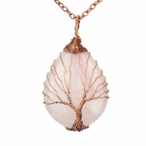 Natural Crystal Quartz Stone Reiki Chakra Healing Pendant Necklace