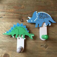 2x Wooden Painted Dinosaur Hooks Peg Gisela Graham Wall Stegosaurus Triceratops