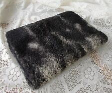 "Vintage Charcoal Medium and Light Gray Persian Lamb Muff Hand Warmer Purse 15"" L"