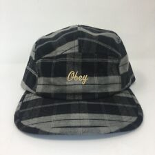 Obey Mens 5-Panel Hat Cap Gray Plaid NWT
