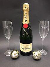 Moet Chandon Imperial Champagner Flasche 0,75l 12% Vol + 2 Moët Gläser +2 Kugeln