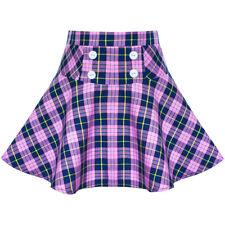 Girls Skirt Plaid Stretchy School Uniform Tartan Back School Age 6-14 Years