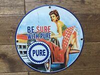 "Vintage Pure Gasoline & Oil Heavy Porcelain Sign 12"" Gas & Oil Sign"
