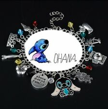 NEW Stitch Ohana Silver Plated Charm Bracelet - Perfect Gift for Christmas