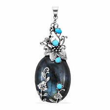 Genuine Labradorite and sleeping beauty Turquoise 925 Silver pendant