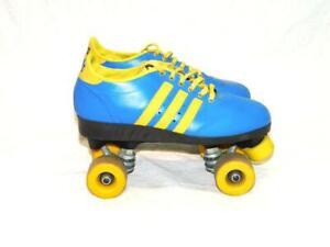Vintage Colt Size 9 Mens Blue Yellow Stripe Roller Skates Disco Derby Low Top