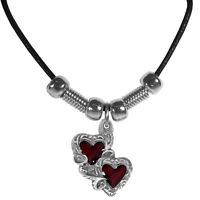 Leather Cord Necklace w/ Double Heart Charm