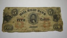 $5 1853 Adrian Michigan Obsolete Currency Bank Note Bill! Erie and Kalamazoo RR