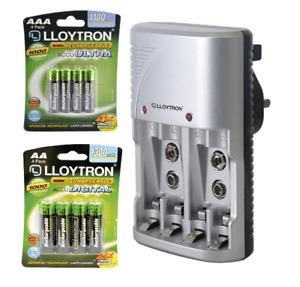 Lloytron Battery Charger Set with High Capacity AA AAA Rechargeable Batteries