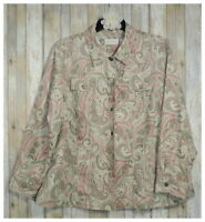 Women's ALFRED DUNNER Beige Paisley Button Lined Jacket Top Shirt Plus Size 22W