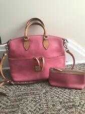 Dooney & Bourke Pebbled Pink Leather Top Zip Satchel Handbag Cosmetic Keychain