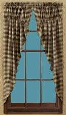Country Black Check Prairie Swag Curtains 72WX63L Lined Cotton Check Size 1/2""