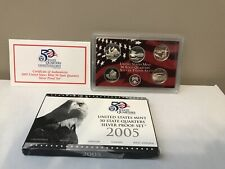 2005 US Mint 50 State Quarters Silver Proof Set with OGP & COA.  90% Silver