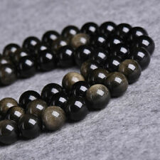 "HOT Natural A grade golden obsidian round beads strand 4-18MM 15""Jewelry diy"
