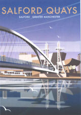 Salford Quays Manchester Art Deco style History Blank Birthday Fathers Day Card