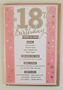 18TH BIRTHDAY CARD  BORN IN 2003 EVENTS CARD UNIQUE TO THE YEAR YOU WERE BORN
