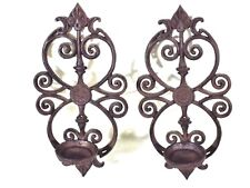 Cast Iron Wall Sconces Rustic Farm House Decor Black Candle Holders Candlesticks