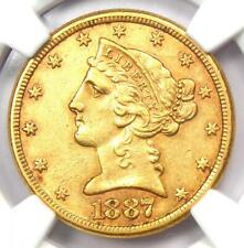 1887-S Liberty Gold Half Eagle $5 Coin - Certified NGC AU55 - Rare Gold Coin!