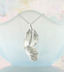 Falling Feather Pendant ONLY - Unique Memorial Sterling Silver wh39