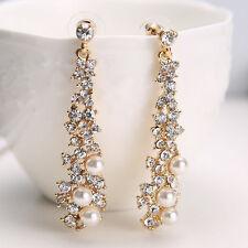 Damen Ohrstecker Ohrringe mit Perlen Strass Gold vergoldet Lange Ohrschmuck PAL