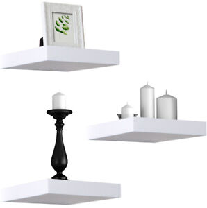 Sorbus Floating Shelves Solid Square Shaped Hanging Wall Shelves Set of 3- White