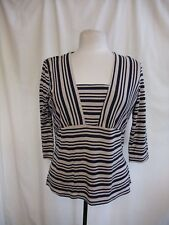 Ladies Top Alex & Co. UK 14, EUR 40, navy/fawn stripes, viscose, stretch 1472
