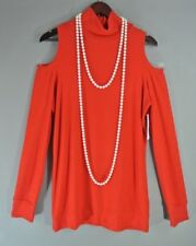 Three dots Red XL Knit Top Open Shoulders A line Blouse Turtleneck NWT