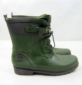 3813R  Timberland GREEN  Rubber Rain Boots ANKLE Lace-Up Women Size   8