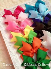 "10 - 5"" Hair Bows Boutique Girls Baby Toddler Grosgrain Ribbon Alligator clip"