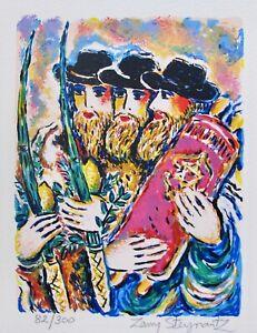 ZAMY STEYNOVITZ Rabbis at Sukkot Hand Signed Limited Edition Lithograph Art