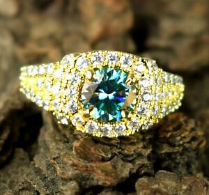 Round 4.08 Ct Green Diamond Solitaire Gold Finish Halo Ring For Special Occasion