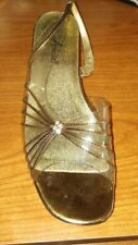"""Annie Chunky 2"""" Heel Party Dress 10WW Clear & Copper with Rhinestone Shoes"""