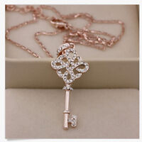 1x Wonderful Womens 9K Rose Gold Filled Key Style Necklace & Pendant In NMCA TOC